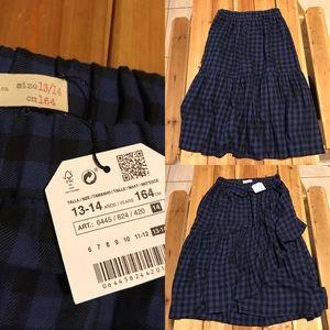 Zara girl black/blue gingham skirt size 13-14 year